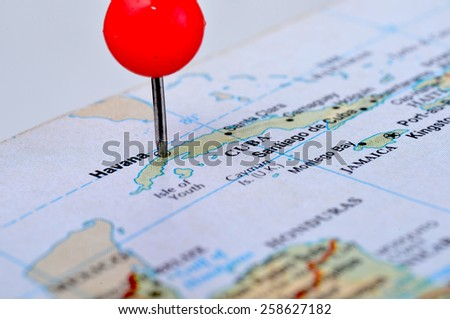 Macro shot of a map showing the island of Cuba - stock photo