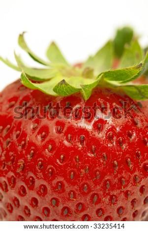 macro shot of a tasty strawberry islated against white background - stock photo