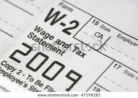 Macro shot of a W-2 Tax statement.