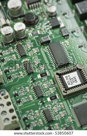 Macro shot of an electronic circuit board - stock photo
