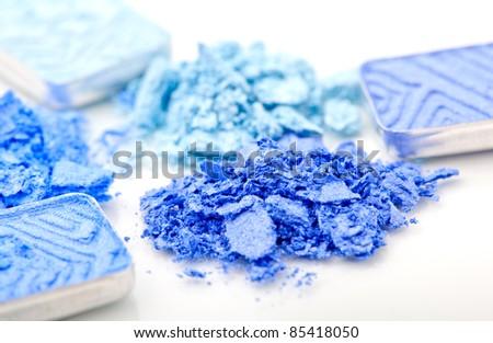 macro shot of  blue make-up eyeshadows - stock photo