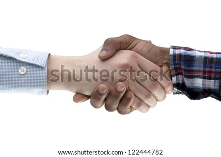 Macro shot of businesspeople shaking hands against white background - stock photo