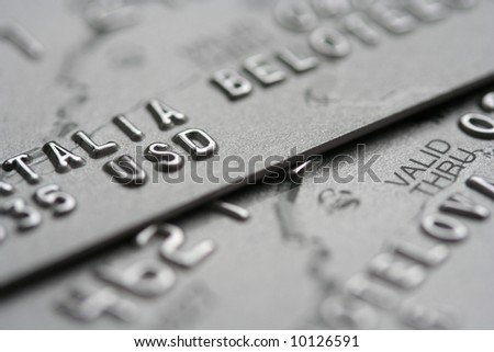 macro shot of credit cards with big out of focus zone - stock photo