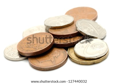 Macro shot of czech coins isolated on a white background. - stock photo