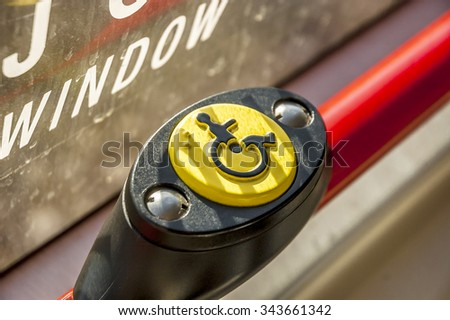 macro shot of  Disabled Grunge Round Sign, SOFT FOCUS - stock photo
