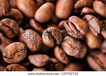 Macro shot of heap roasted coffee beans - stock photo
