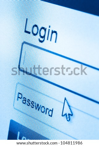 macro shot of Login and password on computer screen
