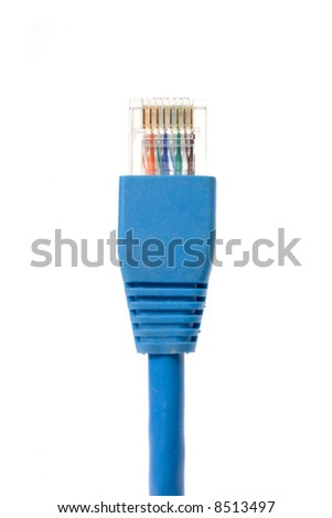 Macro shot of network connection plug RJ-45 - stock photo