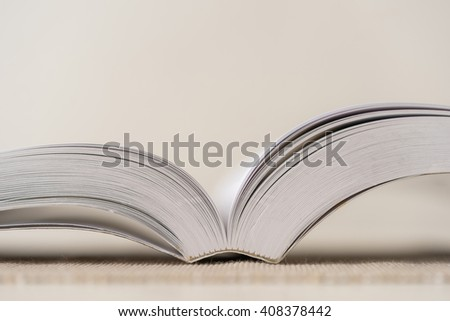 Macro shot of open book. Shallow depth of field. Horizontal. - stock photo