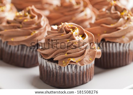 Macro shot of Pot of Gold cupcakes - chocolate cake with a rich salted caramel center topped with chocolate buttercream and edible gold stars - stock photo