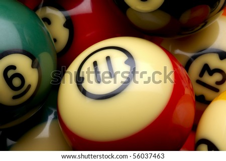 Macro shot of several colorful pool balls - stock photo