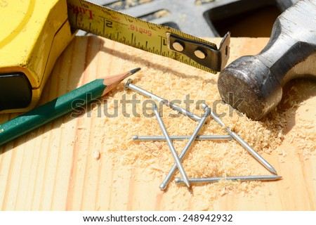 Macro shot of some woodworking tools  - stock photo