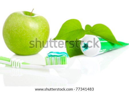 Macro shot of toothbrush with dental paste. - stock photo