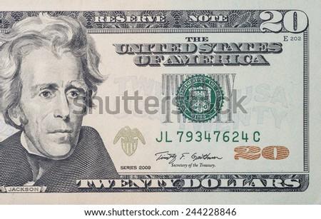 Macro shot of 20 US dollars bill  - stock photo