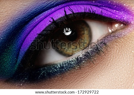 Macro shot of woman's beautiful green eye, bright and deep colors make-up. Dark purple eyeshadow on eyelid. Sexy view, sensual look - stock photo