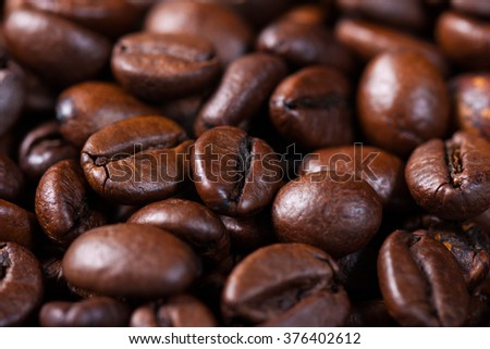 Macro shut of a roasted coffee beans - stock photo