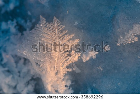 Macro structure of frosty ice snowflakes - stock photo