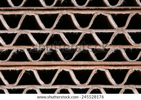 Macro texture of cardboard in the sectional of the folded in several layers