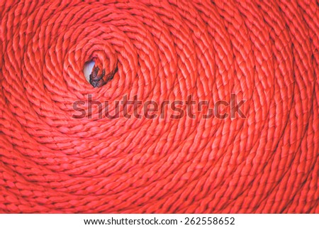 Macro Texture of red rope for background - stock photo