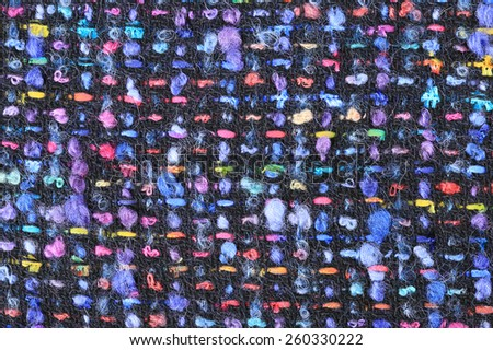 macro texture wool black fabric with colored speckles studio
