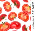 Macro tomato slices isolated over white background seamless wallpaper - stock photo