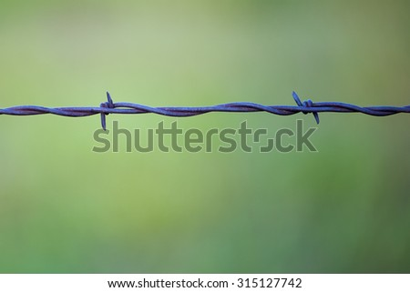 Macro view of a rural barb wire fence, shallow DOF