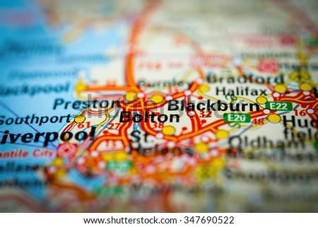 Macro view of Bolton, United Kingdom on map. (vignette) - stock photo