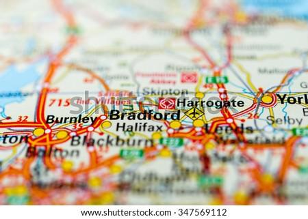Macro view of Bradford, United Kingdom on map. - stock photo
