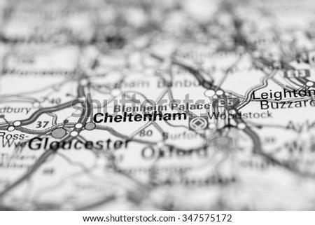 Macro view of Cheltenham, United Kingdom on map. - stock photo