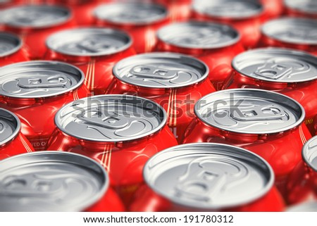 Macro view of color drink tin cans with cola soda beverage with selective focus effect - stock photo