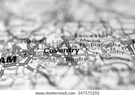 Macro view of Coventry, United Kingdom on map. - stock photo