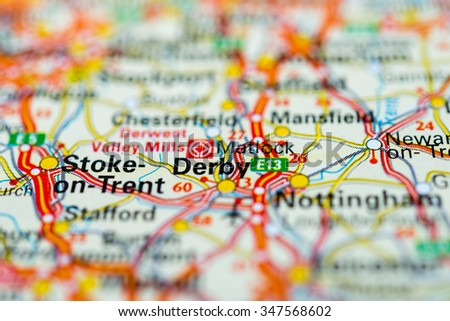 Macro view of Derby, United Kingdom on map. - stock photo