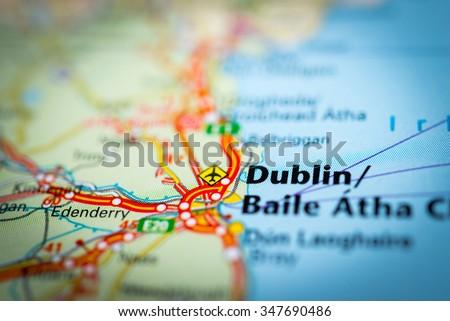Macro view of Dublin, United Kingdom on map. (vignette) - stock photo