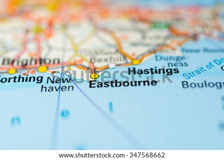 Macro view of Eastbourne, United Kingdom on map. - stock photo