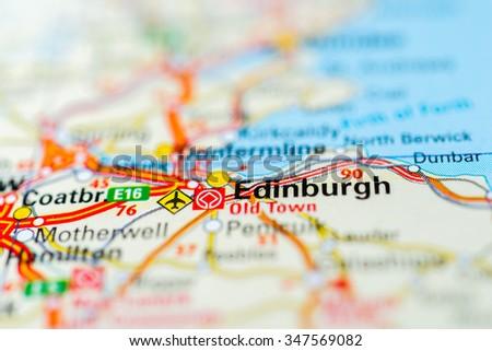 Macro view of Edinburgh, United Kingdom on map. - stock photo