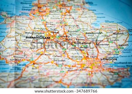 Macro view of England, United Kingdom on map. (vignette) - stock photo