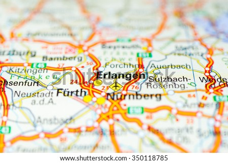 Macro View Erlangen Germany On Map Stock Photo 350118785 Shutterstock