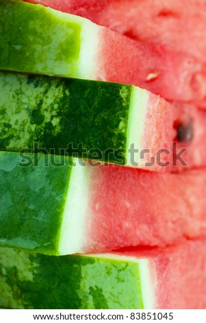 Macro view of fresh watermelon slices