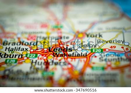 Macro view of Leeds, United Kingdom on map. (vignette) - stock photo