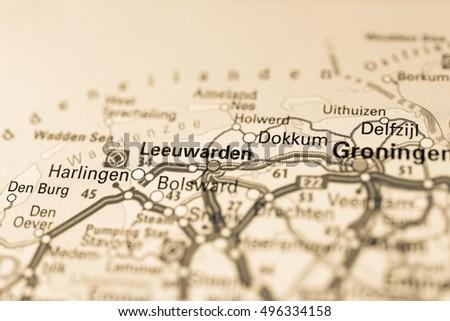 Macro View Leeuwarden Netherlands On Map Stock Photo 496334158