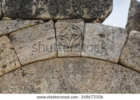 Macro view of North Byzantine Gate in Hierapolis, Denizli, Denizli, Turkey. Hierapolis was an ancient Greco-Roman city in Phrygia.