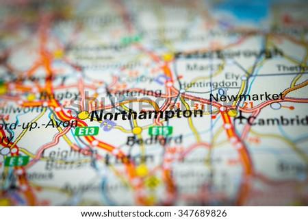 Macro view of Northampton, United Kingdom on map. (vignette) - stock photo