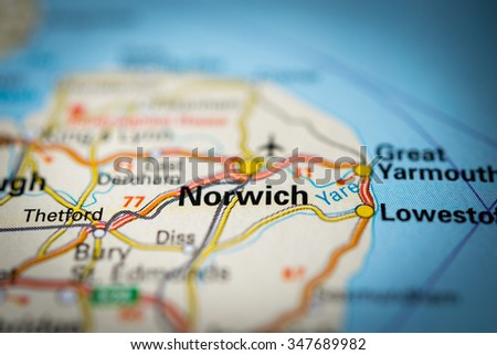 Macro view of Norwich, United Kingdom on map. (vignette) - stock photo