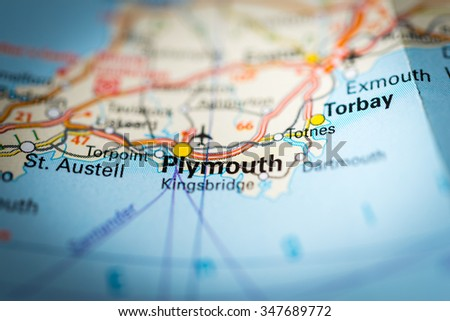 Macro view of Plymouth, United Kingdom on map. (vignette) - stock photo
