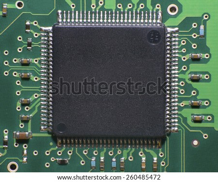 Macro view of processor microchip - stock photo