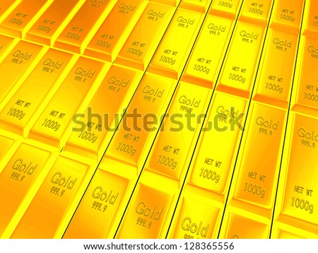 Macro view of rows of gold bars - stock photo