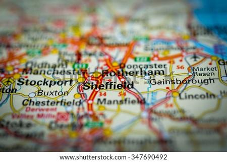 Macro view of Sheffield, United Kingdom on map. (vignette) - stock photo