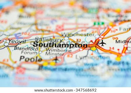 Macro view of Southampton, United Kingdom on map. - stock photo