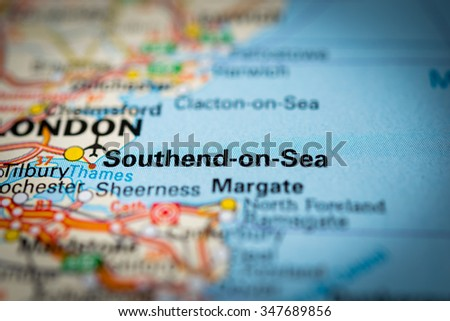 Macro view of Southend-on-Sea, United Kingdom on map. (vignette) - stock photo
