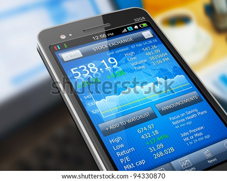 Macro view of stock market application on touchscreen smartphone - stock photo